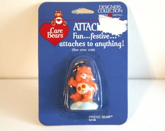 Vintage 80s CARE BEARS Friend Bear keychain new in package