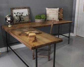 Industrial L Shaped Desk, Wood Desk, Pipe Desk, Reclaimed Wood, Industrial Desk