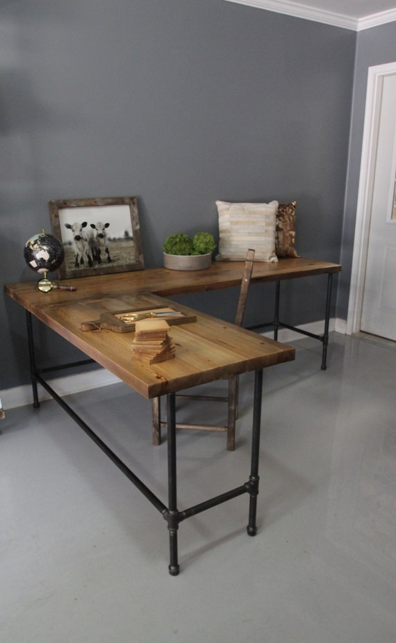 industrial l shaped desk wood desk pipe desk reclaimed by dendroco. Black Bedroom Furniture Sets. Home Design Ideas