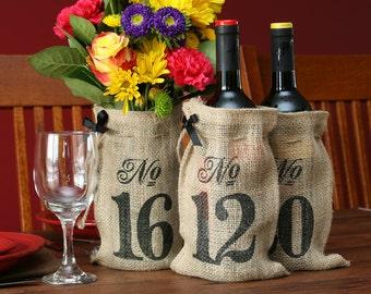 11-20 Burlap Hessian Table Numbers Wedding Wine Bottle Bags Rustic Decorations FREE POSTAGE Australia Wide