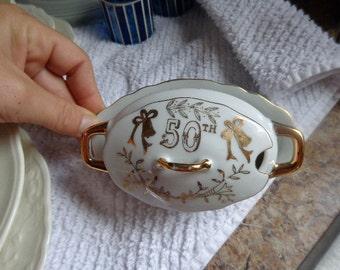 Vintage Lefton China 50th Anniversary Sugar Bowl, No Spoon
