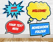 INSTANT DOWNLOAD Large Editable Classroom Signs Printable Classroom Signs Editable Speech Bubbles Staff Appreciation Superhero Classroom