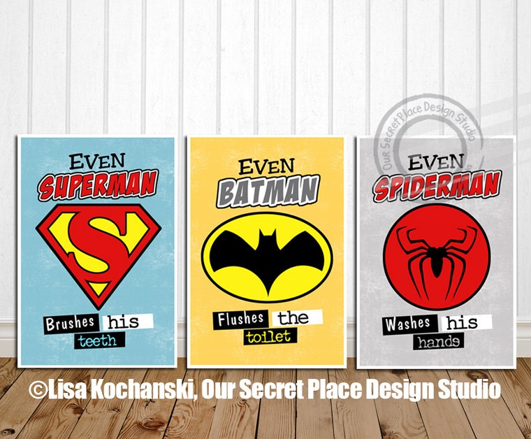 Bathroom Sign In Book prints superhero bathroom decor superhero bathroom wall art