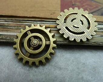 15pcs 18mm Ancient Bronze gear  Charms Connectors