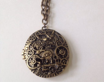 Time Train Steampunk Locket Necklace