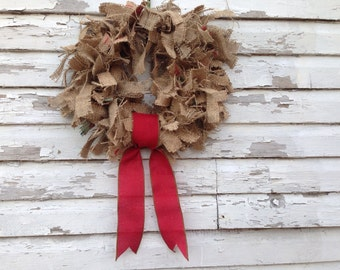 Upcycled coffee sack burlap wreath with red and green, Eco friendly holiday decor