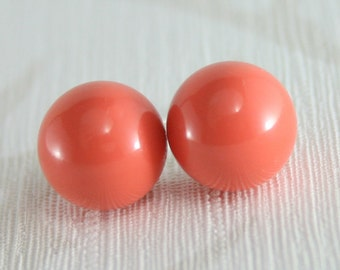 Coral earrings, Coral jewelry, Coral bridesmaid earrings, Pearl earrings, Coral wedding, big pearl earrings, 10mm pearl, coral stud earring