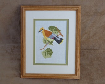 Hand Embroidered Matted and Framed, Bird on a Branch