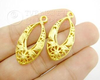 2 Pc Teardrop Pendants, 22K Gold Plated Brass Earring Findings, Turkish Jewelry