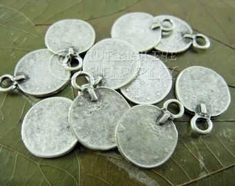 10 pc Rustic Coin Charms, Ottoman Coin Replica Charms, Turkish Coin, Turkish  Matte Antique Silver Plated, Coin Findings, Turkish Jewelry