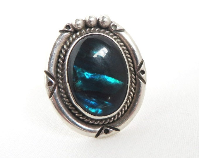Silver Abalone Ring, Vintage Signed Nakai, Native American Sterling Silver Ring, Size 6.5