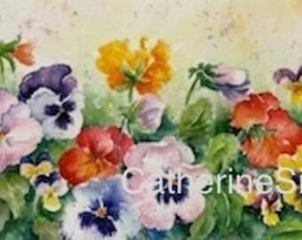 Pansies, WATERCOLOR PAINTING, fine art giclée, red, orange, yellow, purple, green