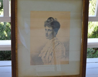 """Connecticut History Antique English Engraving of Anita Smith Caldwell 1888 20"""" by 23"""" Portrait"""