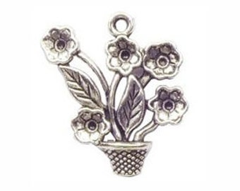 6 Silver Pot of Daisy Flowers Charm Pendant 26x25mm by TIJC SP0364