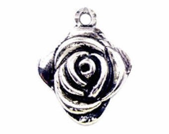 8 pcs - Silver Rose Charm Medium Bud 26x22mm - Ships from Texas by TIJC - SP0038