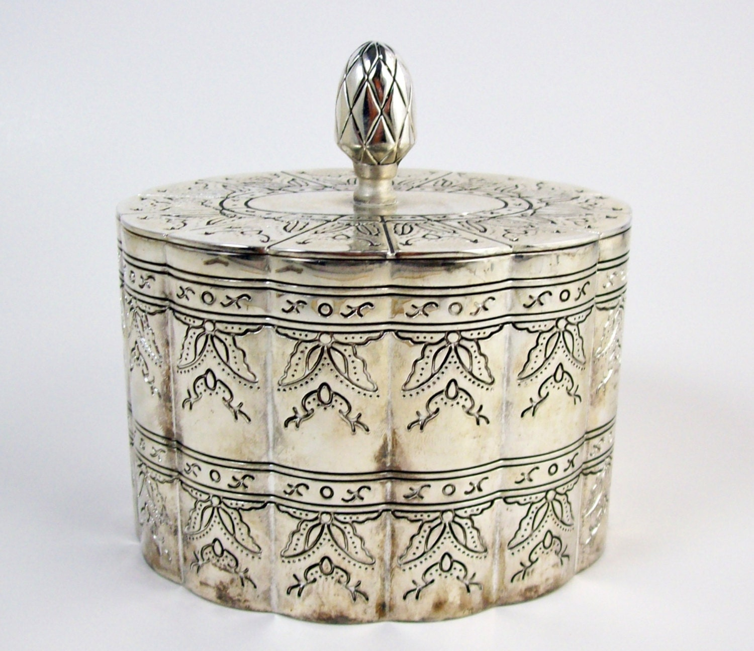 Vintage Silver Plate Trinket Jewelry Box By Piecesfromthepast2
