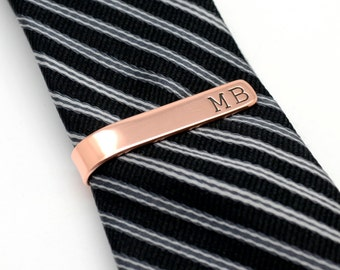 Rose Gold Color Personalized Tie Tack, Tie Clip, Tie Bar, Valentines Gift for Him, Copper, Stamped Tie Bar,Groomsmen Gift, Best Man Gift