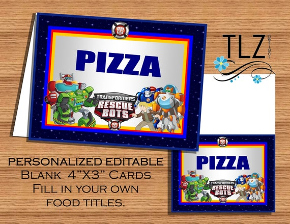 Rescue Bots Food Label Cards Editable Printable Diy By Heroes Birthday Invitations