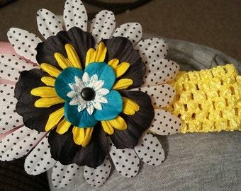 Yellow, Black and White Polka Dot Baby Headband