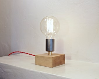 rustic modern table lamp //  industrial brass and wood desk lamp // exposed edison bulb lighting // light fixture