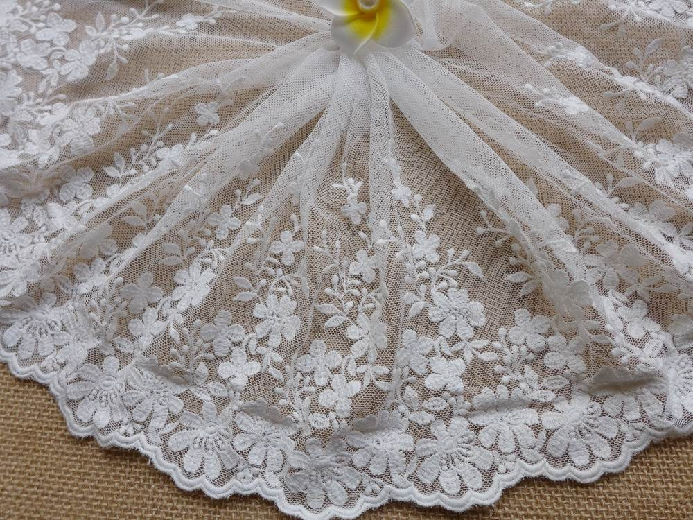 Off white cotton embroidery tulle lace fabric trims with for Wedding dress fabric stores