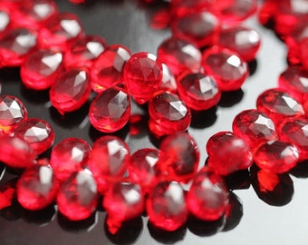 Ruby Red Quartz Faceted Pear Briolettes, 9 - 10 mm, 6 beads GM2236FP/10/6 #211