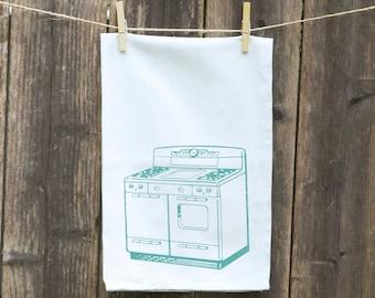 Tea Towels-Kitchen-Hand-Flour Sack-Dish -Customizable Tea Towels-Retro Stove