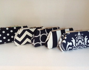 Multiple Clutch Discount for Navy Blue and White Clutch Purses with Nickel/Silver Finish Frame, Bridesmaid Clutch, Purse, Wedding, Nautical