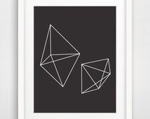 Black Geometric Print Art, Black and White Print, Abstract Print, Geometric Print, Geometric Artwork, Geometric Black and White Wall Print
