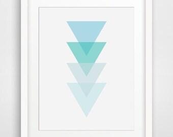 Blue Triangle Art, Blue Triangle Wall Print, Light Blue Triangles, Sky Blue Geometric Triangles, Light Blue Geometric Wall Print