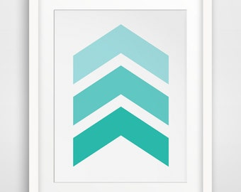 Blue Print, Geometric Art, Printable Art, Teal Art, Chevron Art, Geometric Prints, Wall Print, Blue Wall Art, Chevron Prints, Teal Decor