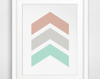 Mint and Coral Chevrons, Chevron Wall Art, Chevron Wall Print, Pastel Chevrons, Mint Green, Coral Red, Mint Green Art, Coral Wall Art