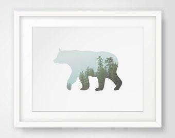 Forest Animals, Tree Artwork, Bears, Forest Nursery, Tree Printable, Tree Wall Art, Winter Printable, Forest Decor, Woodland Animals