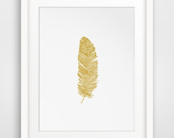 Gold Feather Print, Mustard Yellow Feather Wall Art, Gold Wall Print, Mustard Yellow Feather Print, Yellow Wall Art, Bohemian Digital Print