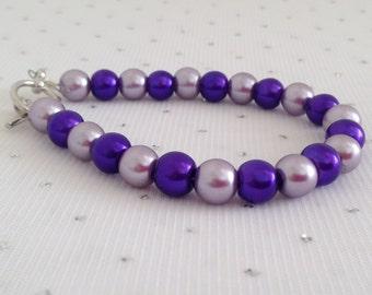 Purple Pearl Bracelet, Purple Wedding, Pearl Bracelet, Bridesmaid Jewelry, Dark Purple Bracelet, Purple Jewelry