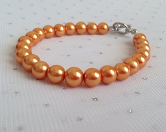 Orange Bracelet, Pearl Bracelet, Orange Wedding, Bridesmaid Jewelry, Fall Wedding Jewelry, Bridesmaid Gift, Orange Jewelry