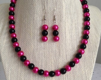 Pink Pearl Beaded Necklace, Pink and Black Wedding Jewelry, Pink Bridesmaid Necklaces, Pearl Wedding Necklace, Pink Beaded Jewelry
