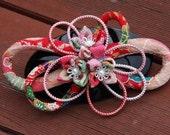 Floral hair barrette/ Kanzashi hair clip/ (Round Pattern 11)