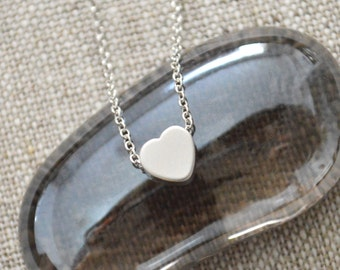 White gold heart necklace A-208