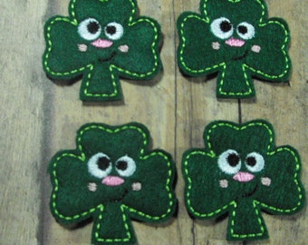 Smiling Shamrock St Patrick's Day felties - feltie - machine embroidered - applique - hair bow center - felt embellishment