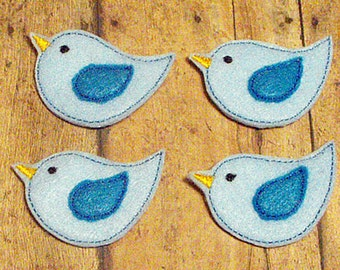 4 CUT Blue Bird felties, feltie, machine embroidered, felt applique, felt embellishment, hairbow center, hair bow supplies