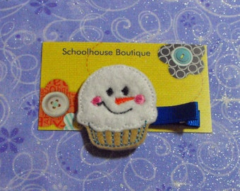Snowman Cupcake Felt Hair Clips -  Felties - Feltie Hair Clip - Felt Hairbow - Felt Hair Clips - Felt Hair Clippie-Party Favor