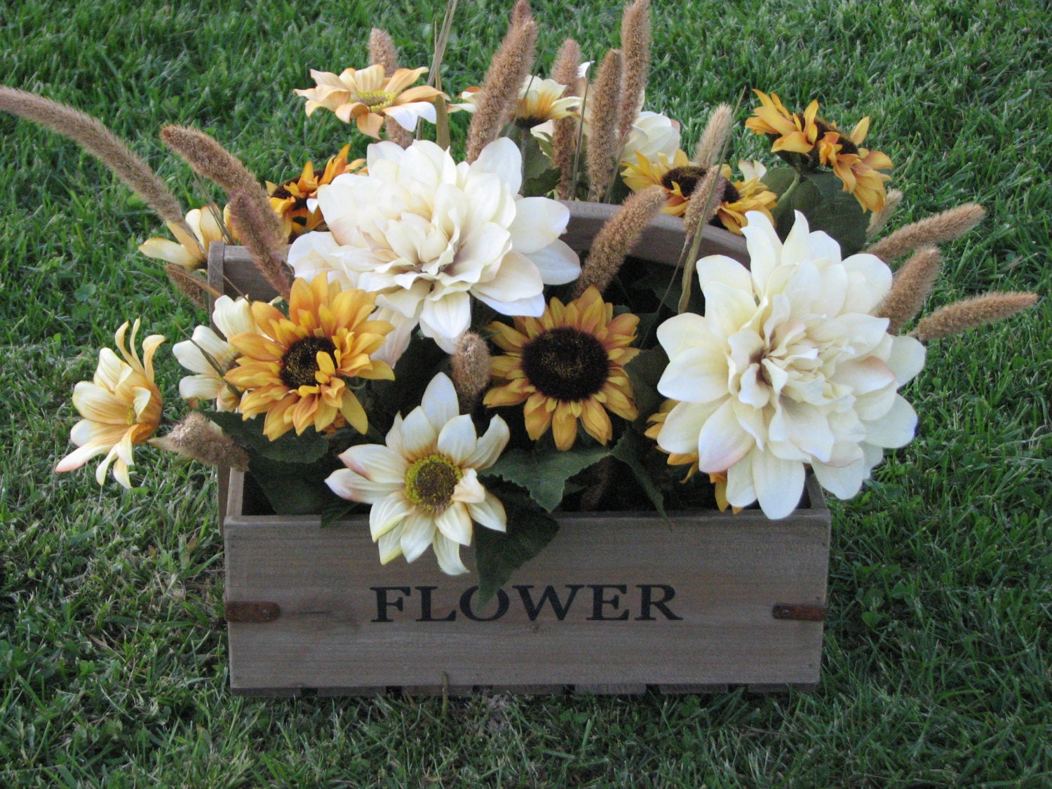 Large rustic sunflower centerpiece floral arrangement