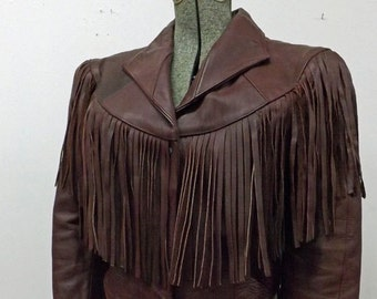 Oxblood Leather Jacket with Extra Long Fringe 70's 80's