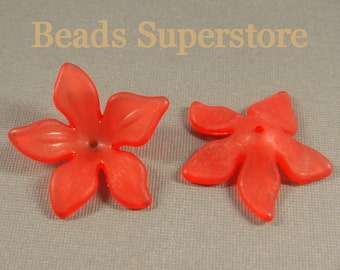 29 mm x 8 mm Red Lucite Flower Bead - 10 pcs