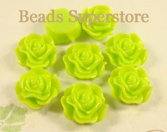 SALE CLOSEOUT 12 mm Light Green Flat Back Resin Cabochon - 10 pcs