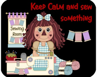 Mouse pad - Keep Calm and Sew Something