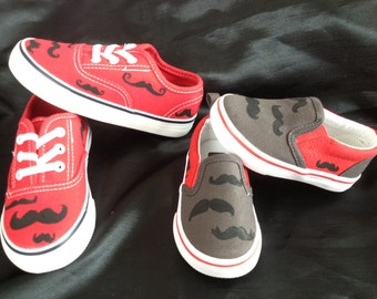 Hand Painted Mustache Shoes