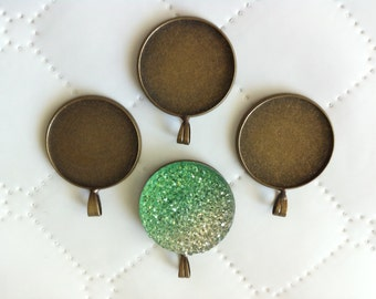 8 pcs Cabochon base setting,32 mm Cameo Charm pendant,, Antique Bronze round base setting. nickel free