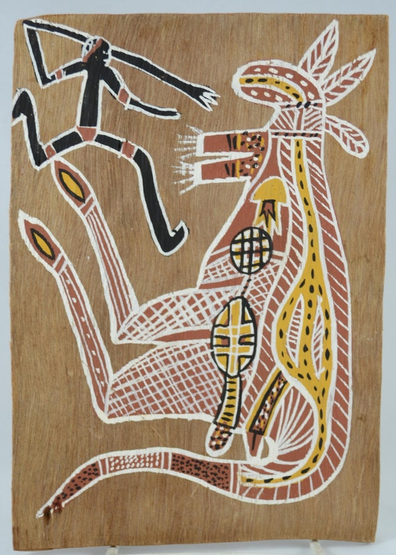 Vintage bark painting in aboriginal x ray style depicting for X ray painting